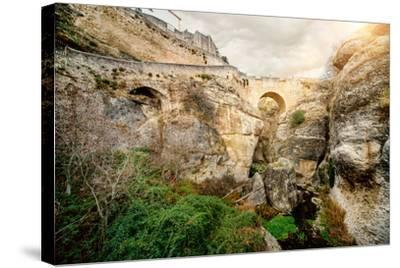 Ronda Bridge and Canyon, Spain-amok-Stretched Canvas Print
