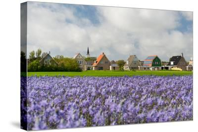 Small Village Den Hoorn with White Church at Dutch Wadden Island Texel-Ivonnewierink-Stretched Canvas Print