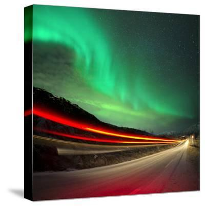 Northern Lights and Trails-Solarseven-Stretched Canvas Print