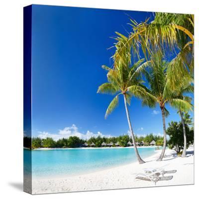 Beautiful Beach with Coconut Palms on Bora Bora Island in French Polynesia-BlueOrange Studio-Stretched Canvas Print