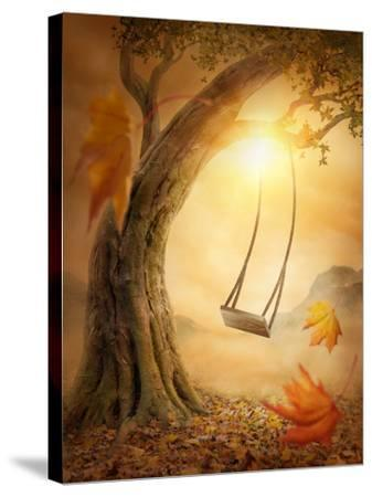 Old Swing Hanging from a Large Tree-egal-Stretched Canvas Print