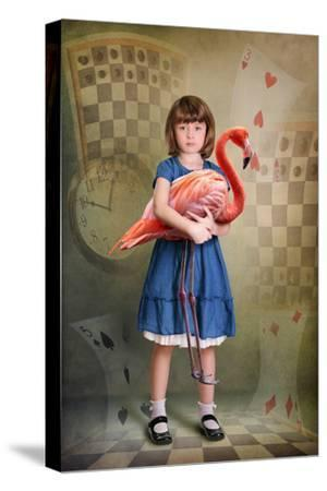 Alice Trying to Play Croquet with Flamingo-egal-Stretched Canvas Print