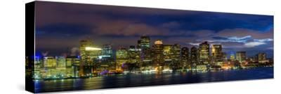 Boston Skyline Panorama at Night-Jeff Kreulen-Stretched Canvas Print