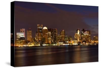 Boston Skyline by Night from East Boston, Massachusetts-Samuel Borges-Stretched Canvas Print