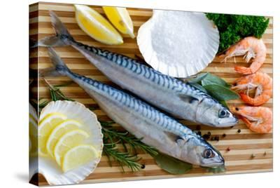 Seafood, Fish - Fresh Mackerel and Shrimps in Cuisine-Gorilla-Stretched Canvas Print
