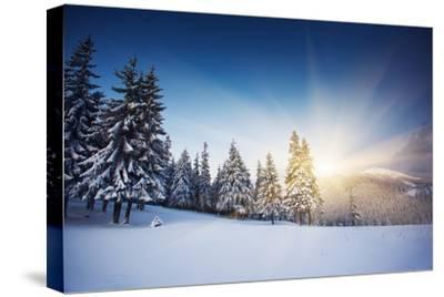 Majestic Sunset in the Winter Mountains Landscape. HDR Image-Leonid Tit-Stretched Canvas Print
