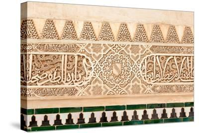 Moorish Plasterwork and Tiles from inside the Alhambra Palace-Lotsostock-Stretched Canvas Print
