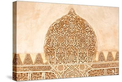 Moorish Plasterwork from inside the Alhambra Palace in Granada-Lotsostock-Stretched Canvas Print