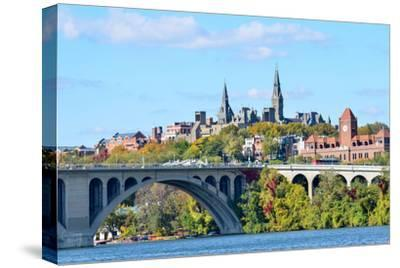 Washington Dc, a View from Georgetown and Key Bridge in Autumn-Orhan-Stretched Canvas Print