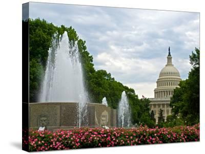 United States Capitol Building and Fountain in Washington Dc-Frank L Jr-Stretched Canvas Print