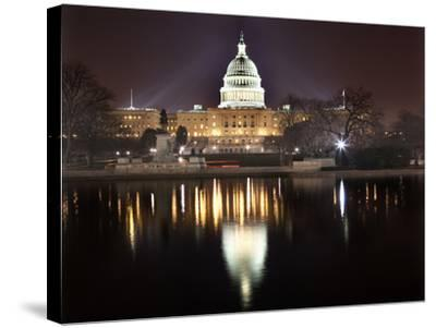 Us Capitol Night Reflection Washington Dc-BILLPERRY-Stretched Canvas Print