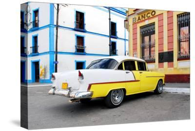Vintage Oldtimer Car in the Streets of Camaguey, Cuba-dzain-Stretched Canvas Print