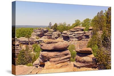 Sandstone Bluffs in the Wilderness-wildnerdpix-Stretched Canvas Print