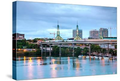 Downtown Portland Cityscape at the Night Time-photo ua-Stretched Canvas Print