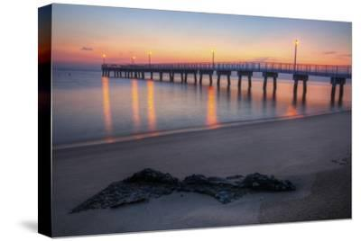 Woodland Beach Fishing Pier Dawn-michaelmill-Stretched Canvas Print