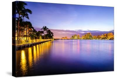 West Palm Beach Florida, USA Cityscape on the Intracoastal Waterway.-SeanPavonePhoto-Stretched Canvas Print