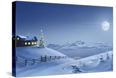 Digital Painting of a Silent Christmas Night in the Snow Covered Mountains.-Inga Nielsen-Stretched Canvas Print