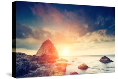 Fantastic Morning Blue Sea Glowing by Sunlight. Dramatic Scene. Black Sea, Crimea, Ukraine, Europe.-Leonid Tit-Stretched Canvas Print