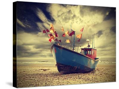 Small Fishing Boat on Shore of the Baltic Sea, Vintage Retro Instagram Style.-Maciej Bledowski-Stretched Canvas Print