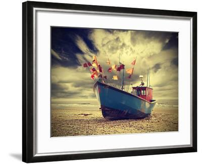 Small Fishing Boat on Shore of the Baltic Sea, Vintage Retro Instagram Style.-Maciej Bledowski-Framed Premium Photographic Print