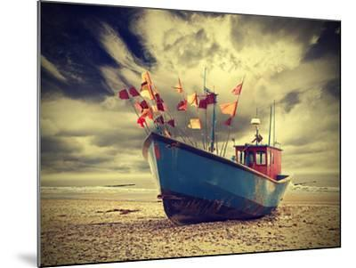 Small Fishing Boat on Shore of the Baltic Sea, Vintage Retro Instagram Style.-Maciej Bledowski-Mounted Premium Photographic Print