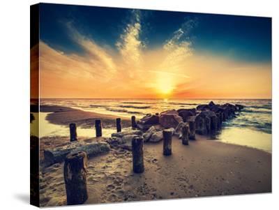 Vintage Retro Photo of Beach at Sunset.-Maciej Bledowski-Stretched Canvas Print