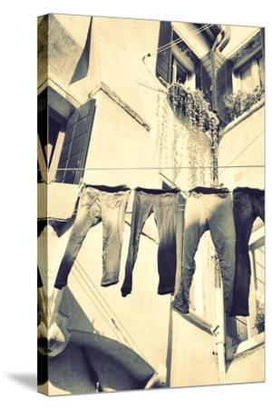 Clothes Airing Outdoor in Venice, Italy. Black and White, Instagram Style Filter-Zoom-zoom-Stretched Canvas Print