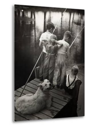 Dogs Supervising Fishing Boys--Metal Print