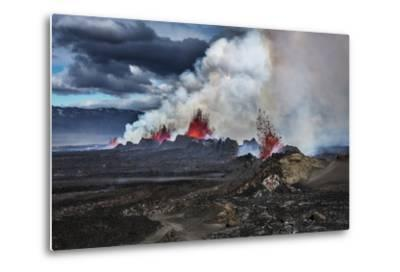Volcano Eruption at the Holuhraun Fissure near Bardarbunga Volcano, Iceland-Arctic-Images-Metal Print