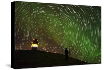 Star Trails and Aurora Borealis or Northern Lights, Iceland-Arctic-Images-Stretched Canvas Print