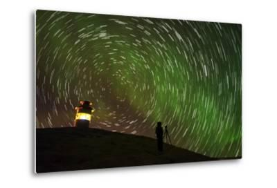 Star Trails and Aurora Borealis or Northern Lights, Iceland-Arctic-Images-Metal Print