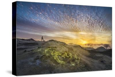 Tourist in Geothermal Landscape at Sunset, Iceland-Arctic-Images-Stretched Canvas Print