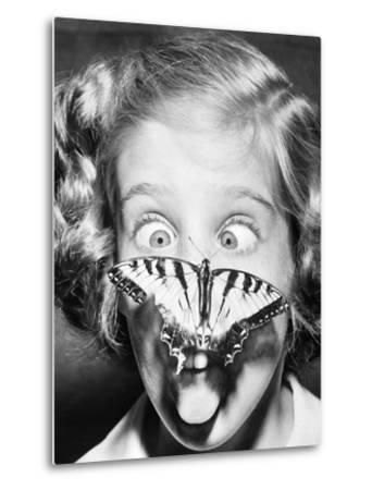 Butterfly Perched on Girl's Nose--Metal Print
