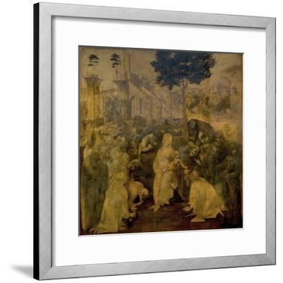 Adoration of the Magi by Leonardo Da Vinci-Leonardo Da Vinci-Framed Giclee Print