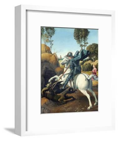 Saint George and the Dragon by Raphael--Framed Giclee Print