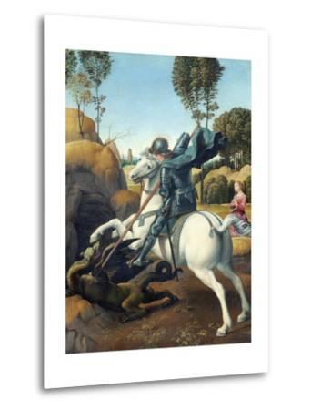 Saint George and the Dragon by Raphael--Metal Print
