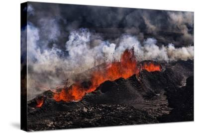 Volcano Eruption at the Holuhraun Fissure near Bardarbunga Volcano, Iceland-Arctic-Images-Stretched Canvas Print