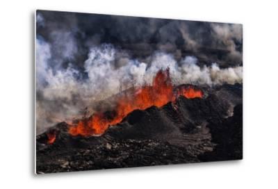 Volcano Eruption at the Holuhraun Fissure near Bardarbunga Volcano, Iceland-Arctic-Images-Metal Print