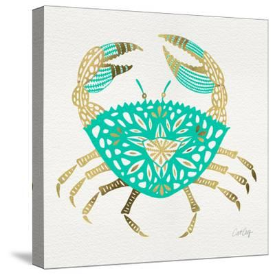 Crab in Gold and Turquoise-Cat Coquillette-Stretched Canvas Print