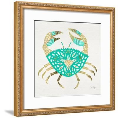 Crab in Gold and Turquoise-Cat Coquillette-Framed Giclee Print