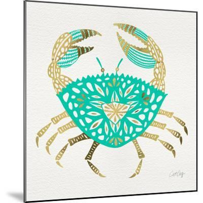 Crab in Gold and Turquoise-Cat Coquillette-Mounted Giclee Print