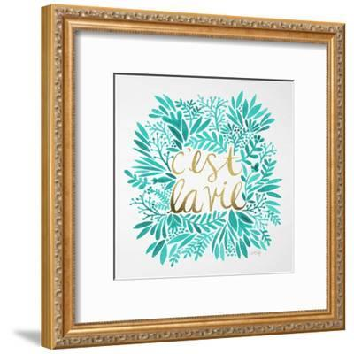C'est La Vie in Turquoise and Gold-Cat Coquillette-Framed Premium Giclee Print
