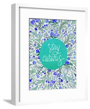 Stay Curious in Blue and Turquoise-Cat Coquillette-Framed Giclee Print