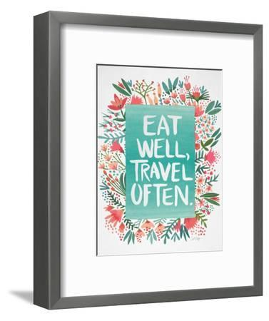 Eat Well Travel Often - Floral-Cat Coquillette-Framed Premium Giclee Print