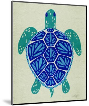 Sea Turtle in Blue– Cat Coquillette-Cat Coquillette-Mounted Giclee Print