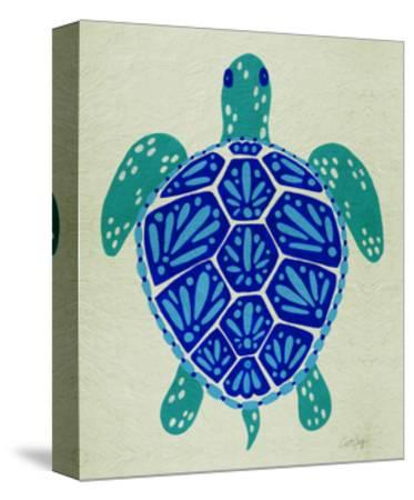 Sea Turtle in Blue– Cat Coquillette-Cat Coquillette-Stretched Canvas Print