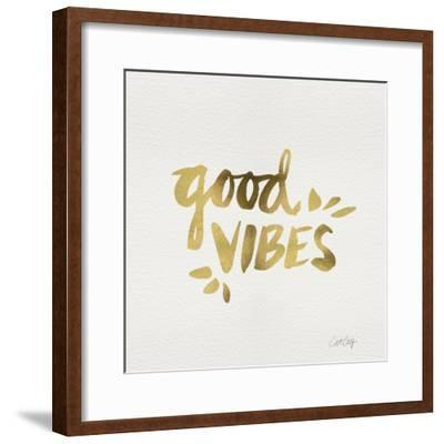 Good Vibes - Gold Ink-Cat Coquillette-Framed Giclee Print