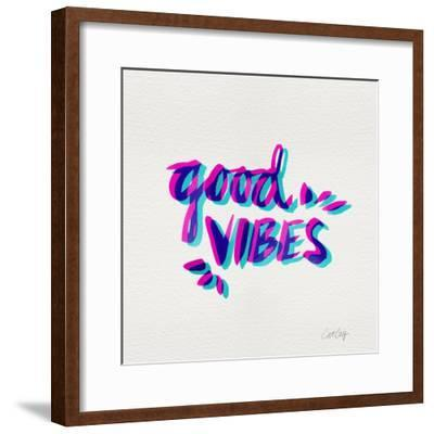 Good Vibes - Magenta and Cyan Ink-Cat Coquillette-Framed Premium Giclee Print