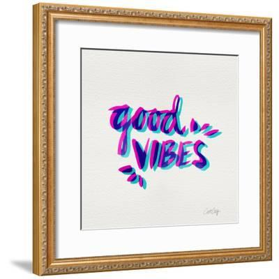 Good Vibes - Magenta and Cyan Ink-Cat Coquillette-Framed Giclee Print