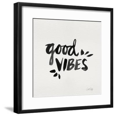 Good Vibes - Black Ink-Cat Coquillette-Framed Giclee Print